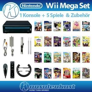 Konsole MegaSet #schwarz + 5 Spiele + Remote + Zubehör