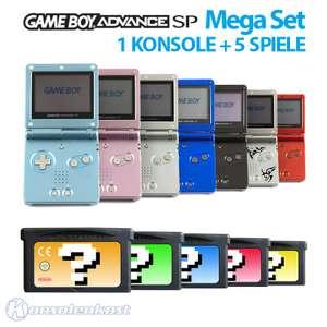 1 Konsole GBA SP + 5 Spiele + Netzteil #Farbe nach Wahl TOP!