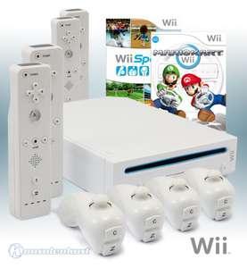 Konsole #weiß + Mario Kart + Wii Sports + 4 Remotes + Zubehör