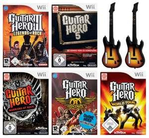 Guitar Hero Set: 3 & 5 + Warriors of Rock + Aerosmith + World Tour + 2 Gitarren #schwarz-rot