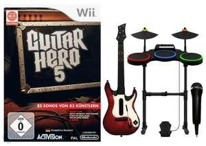 Guitar Hero 5 Band Pack + Spiel + Schlagzeug + Gitarre + Mikrofon