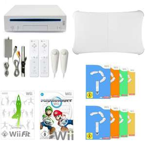 Konsole Giga Set + Mario Kart + Wii Fit + 8 Spiele + Balance Board + 2 Remotes + Lenkräder + HDMI