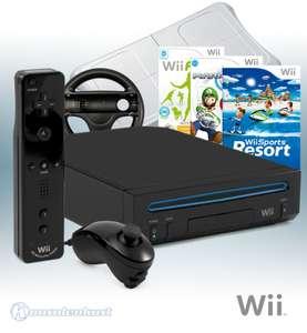 Konsole RVL-101 #schwarz + 3 Wii Spiele + Original Remote Plus + Balance Board + Lenkrad + Zubehör