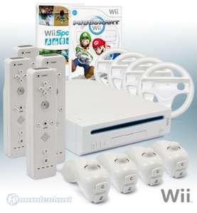 Konsole #weiß + Mario Kart + Wii Sports + 4 Remotes + 4 Lenkrädern + Zubehör