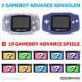 MegaSet: 2 Konsolen + 10 GameBoy Spiele #Purple/Lila & transp. ClearBlue/Glacier