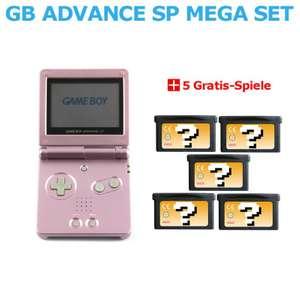 MegaSet: Konsole GBA SP + 5 Gratis-Spiele #pink