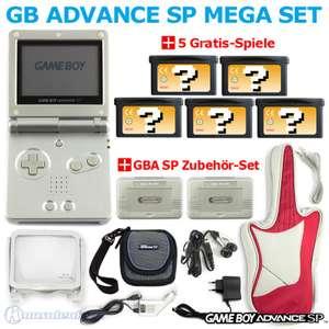Bundle: Konsole GBA SP + 5 Gratis-Spiele + Zubehör-Set #silber