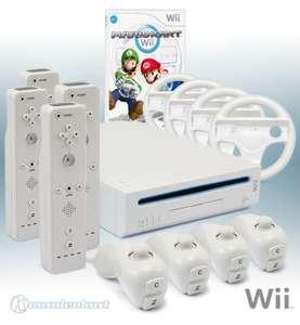 Konsole #weiß + Mario Kart + 4 Remotes + 4 Lenkrädern + Zubehör