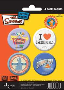 The Simpsons Pins / Anstecker Set: Springfield 4 Stück