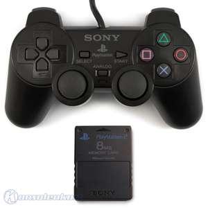Original Sony Dualshock 2 Controller / Pad + Memory Card #schwarz SCPH-10010