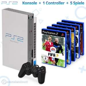 MegaSet: Konsole + 5 Spiele + Original Controller + Zubehör #silber