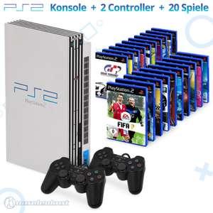 MegaSet: Konsole + 20 Spiele + 2 Original Controller + Zubehör #silber