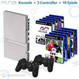 MegaSet: Konsole Slim + 10 Spiele + 2 Original Controller + Zubehör #silber