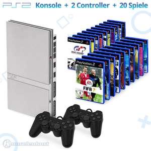 Konsole Slim #silber + 20 Spiele + 2 Controller + Zubehör