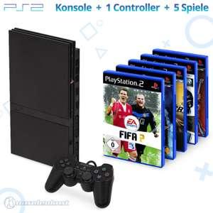 MegaSet: Konsole Slim + 5 Spiele + Original Controller + Zubehör #schwarz