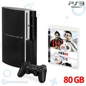 Konsole 80GB #schwarz + FIFA 09 + Original Controller + Zubehör