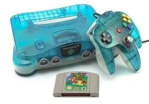 Konsole #Clear Blue-White + Super Mario 64 + Original Controller + Zubehör