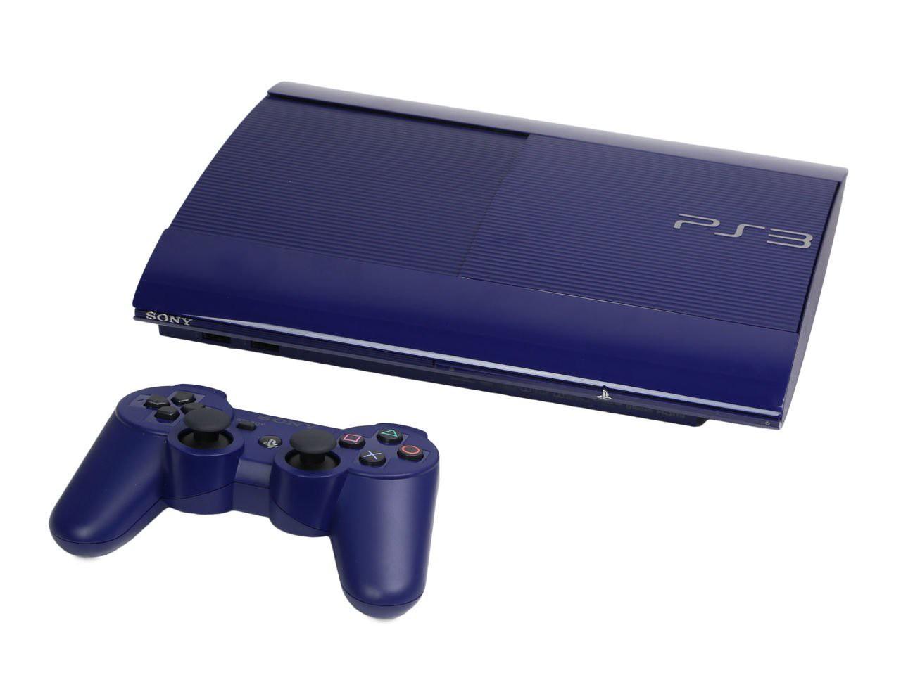 Konsole Super Slim 12GB #blau + Original Controller + Zubehör