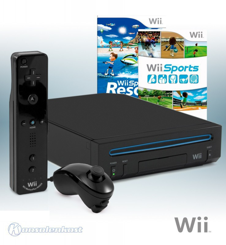 Konsole #schwarz + Wii Sports + Wii Sports Resort + Original Remote Plus + Zubehör