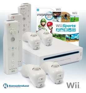 Konsole #weiß + Mario Kart + Wii Sports + 4 Original Remotes + Zubehör