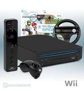 Konsole #schwarz + Wii Sports + Mario Kart + Original Remote Plus + Lenkrad + Zubehör