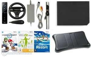 Konsole RVL-101 #schwarz + Mario Kart + 2 Spiele + Original Remote Plus + Balance Board + Zubehör