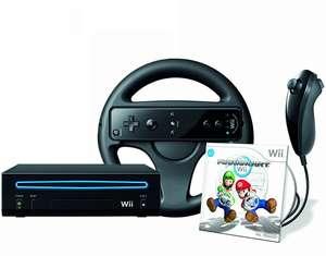 Konsole #schwarz + Wii Mario Kart + Original Remote Plus + Lenkrad + Zubehör