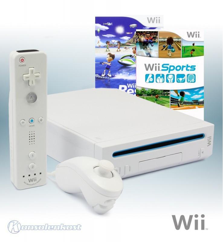 Konsole #weiß + Wii Sports + Wii Sports Resort + Original Remote Plus + Zubehör