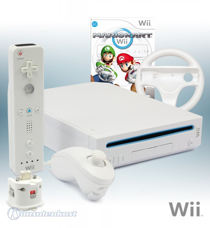 Konsole #weiß + Mario Kart + Original Remote + Motion Plus Adapter + Lenkrad + Zubehör
